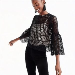 J.CREW Bell Sleeve Daisy Lace Top in Black